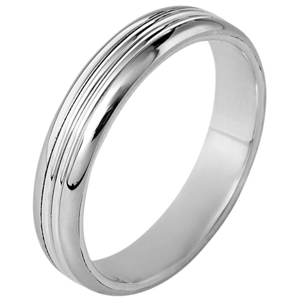 Item # 111061WE - 18 kt white gold, hand made comfort fit wedding band 5.0 mm wide. The whole ring is polished. Different finishes may be selected or specified.