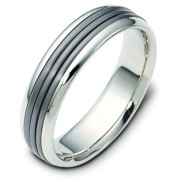 Item # 111081NTG - 14 kt white gold and titanium , comfort fit, 6.0 mm wide wedding band. The titanium portion is matte finish and the rest is polished. Different finishes may be selected or specified.