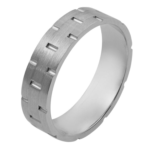 Item # 111111WE - 18 kt white gold, hand made comfort fit Wedding Band 5.0 mm wide. There are carved notches around the whole ring. The ring is a matte finish. Different finishes may be selected or specified.