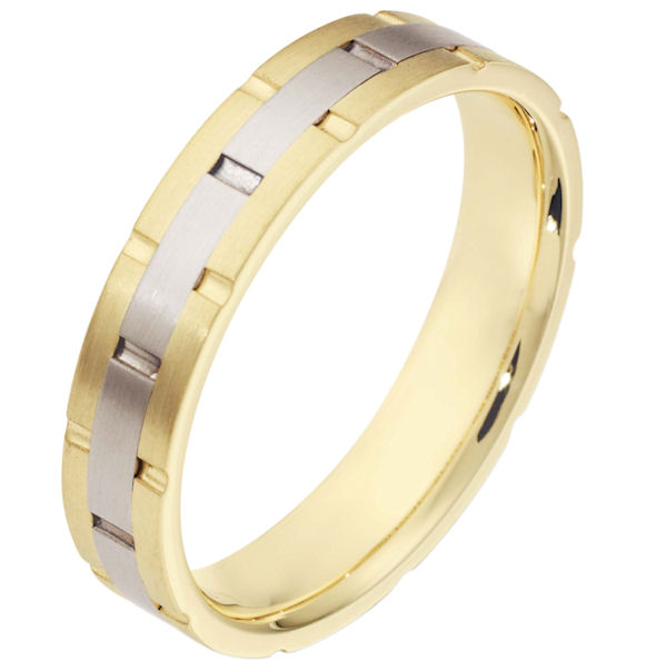 Item # 111121E - 18 kt two-tone hand made comfort fit Wedding Band 5.0 mm wide. There are carved notches around the whole ring. The ring is a matte finish. Different finishes may be selected or specified.