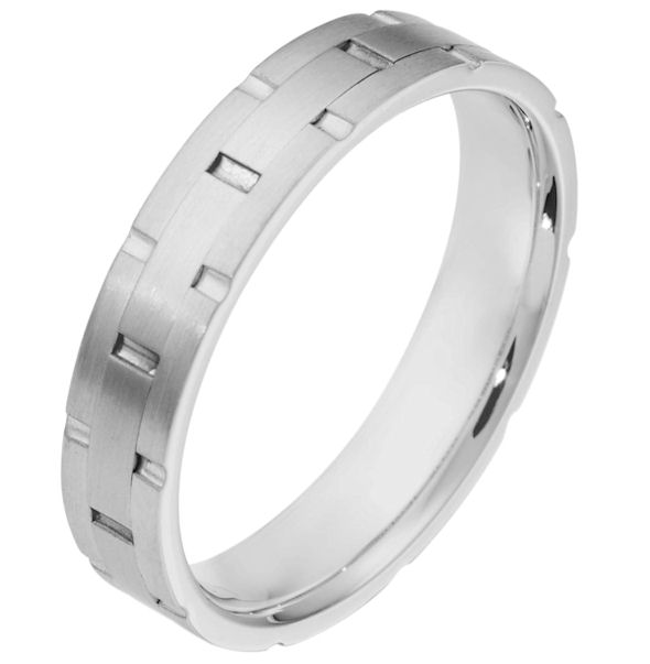 Item # 111121W - 14 kt white gold, hand made comfort fit Wedding Band 5.0 mm wide. There are carved notches around the whole ring. The ring is a matte finish. Different finishes may be selected or specified.