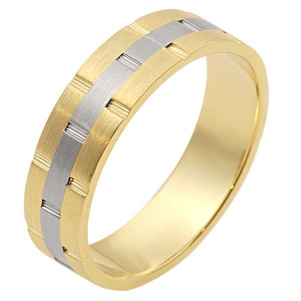 Item # 111131 - 14 kt two-tone hand made comfort fit Wedding Band 6.0 mm wide. There are carved notches around the whole ring. The ring is a matte finish. Different finishes may be selected or specified.