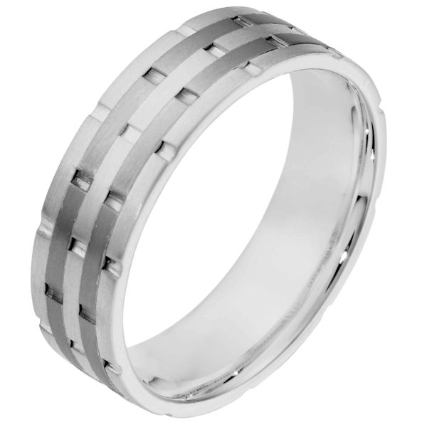 Item # 111141TG - 14K White gold and titanium, comfort fit, 6.5 mm wide wedding band. There are carved notches around the whole ring. The ring is a matte finish. Different finishes may be selected or specified.