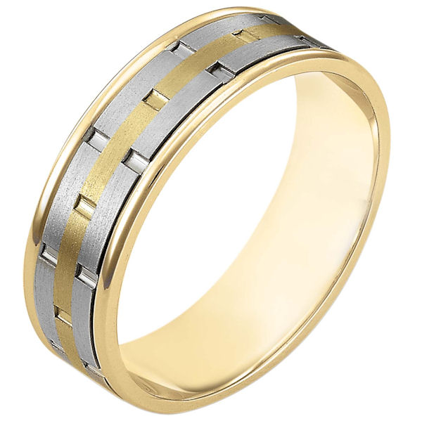 Item # 111161E - 18 kt two-tone hand made comfort fit Wedding Band 6.5 mm wide. There are carved notches around the whole ring. The ring is a matte finish. The edges are polished. Different finishes may be selected or specified.