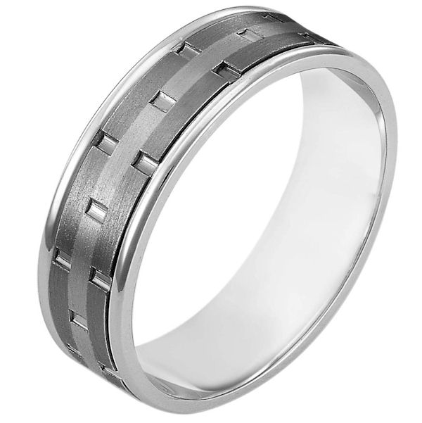 Item # 111161TG - 14 kt white gold and titanium, comfort fit, 6.5 mm wide wedding band. There are carved notches around the whole ring. The ring is a matte finish. The edges are polished. Different finishes may be selected or specified.