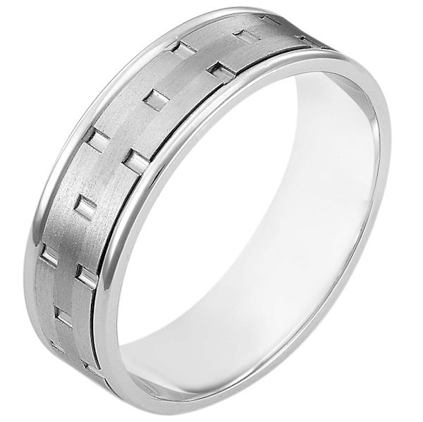 Item # 111161W - 14 kt white gold, hand made comfort fit Wedding Band 6.5 mm wide. There are carved notches around the whole ring. The ring is a matte finish. The edges are polished. Different finishes may be selected or specified.