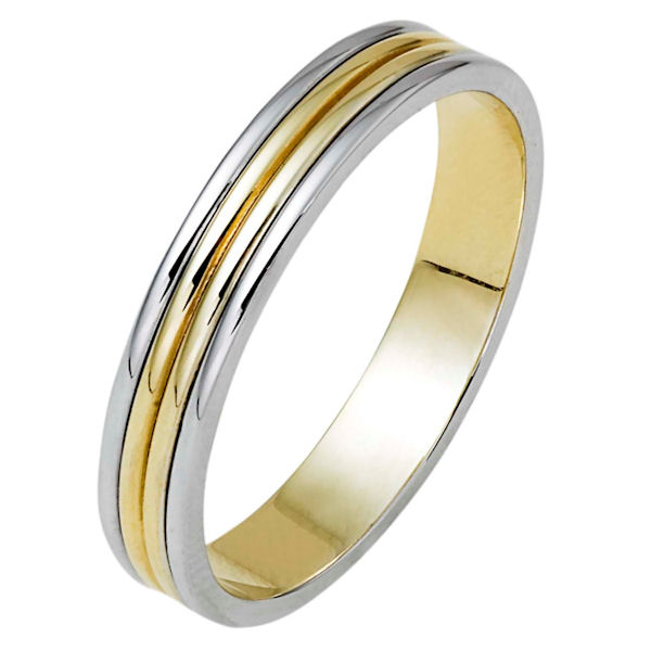 Item # 111171 - 14 kt two-tone white and yellow gold, hand made comfort fit wedding band 4.0 mm wide. The whole ring is polished. Different finishes may be selected or specified.