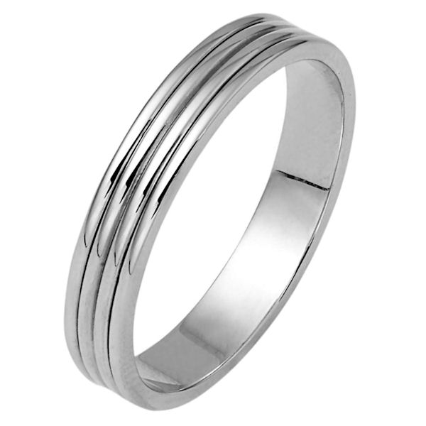 Item # 111171WE - 18 kt white gold, hand made comfort fit wedding band 4.0 mm wide. The whole ring is polished. Different finishes may be selected or specified.