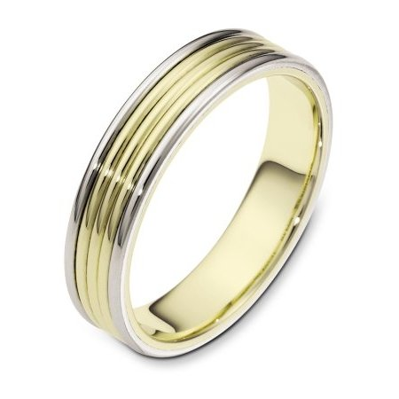 Item # 111181 - Two-Tone, hand made, comfort fit, 5.0 mm wide wedding band. It can be made with different color combinations. The whole ring is polished. Different finishes may be selected or specified.