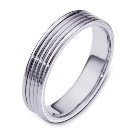 Item # 111181W - 14K white gold, hand made, comfort fit, 5.0 mm wide wedding band. It can be made with different color combinations. The whole ring is polished. Different finishes may be selected or specified.