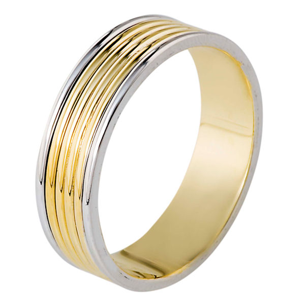 Item # 111191E - 18 kt two-tone, 5.5 mm wide, comfort fit wedding band. The whole ring is polished. Different finishes may be selected or specified.