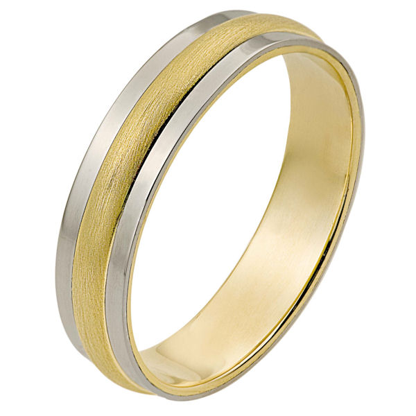 Item # 111241E - 18 kt two-tone hand made comfort fit Wedding Band 5.0 mm wide. The center portion is matte finish and the edges are polished. Different finishes may be selected or specified.