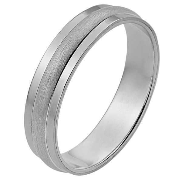 Item # 111241WE - 18 kt white gold, hand made comfort fit Wedding Band 5.0 mm wide. The center portion is matte finish and the edges are polished. Different finishes may be selected or specified.