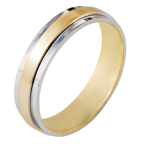 Item # 111251E - 18 kt two-tone hand made comfort fit Wedding Band 5.0 mm wide. The center portion is matte finish and the edges are polished. Different finishes may be selected or specified.