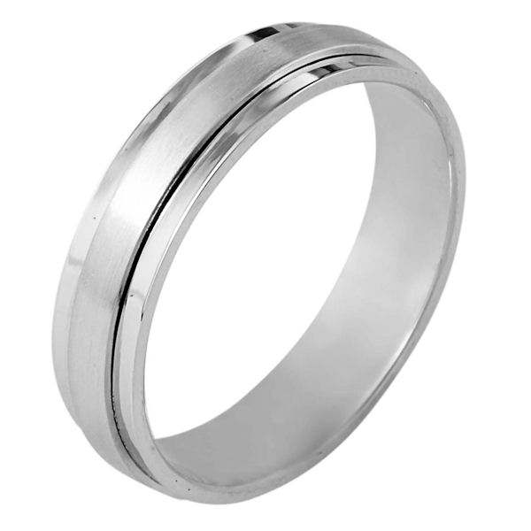 Item # 111251WE - 18kt white gold, hand made comfort fit Wedding Band 5.0 mm wide. The center portion is matte finish and the edges are polished. Different finishes may be selected or specified.