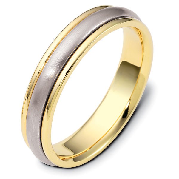 Item # 111271E - 18K white and yellow gold, 5.0 mm wide, comfort fit wedding band. The center portion is matte finish and the edges are polished. Different finishes may be selected or specified.