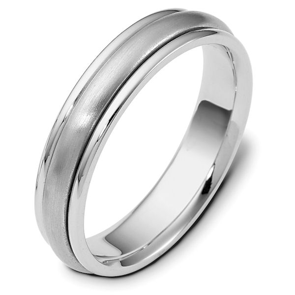 Item # 111271WE - 18K white gold, 5.0 mm wide, comfort fit wedding band. The center portion is matte finish and the edges are polished. Different finishes may be selected or specified.