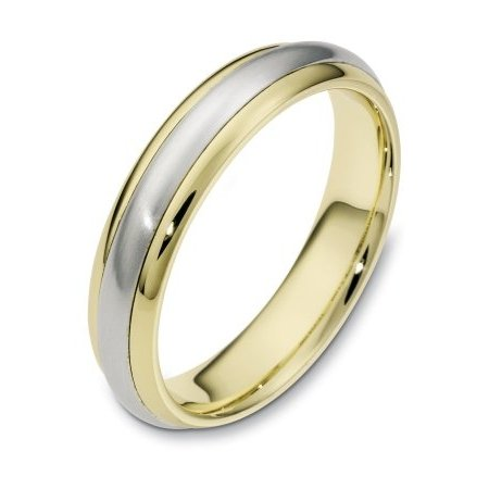 Item # 111281E - 18 kt two-tone hand made comfort fit Wedding Band 5.0 mm wide. The center portion is matte finish and the edges are polished. Different finishes may be selected or specified.
