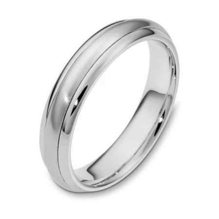 Item # 111281WE - 18 kt white gold, hand made comfort fit Wedding Band 5.0 mm wide. The center portion is matte finish and the edges are polished. Different finishes may be selected or specified.