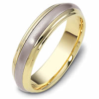 18K Two-Tone Comfort Fit, 5.5mm Wide Wedding Band