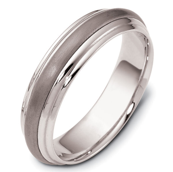 Item # 111291TE - Titanium and 18kt white gold classic, comfort fit, 5.5mm wide wedding band. The ring has a matte finish in the center and the rest polished. Different finishes may be selected or specified.