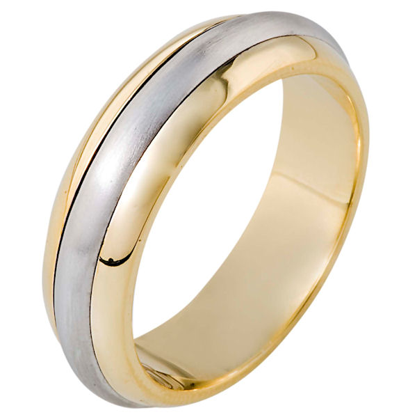 Item # 111301E - 18 kt two-tone hand made comfort fit Wedding Band 6.0 mm wide. The center portion is matte finish and the edges are polished. Different finishes may be selected or specified.