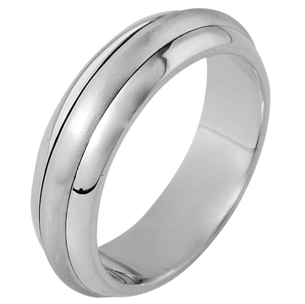 Item # 111301W - 14 kt white gold, hand made comfort fit Wedding Band 6.0 mm wide. The center portion is matte finish and the edges are polished. Different finishes may be selected or specified.
