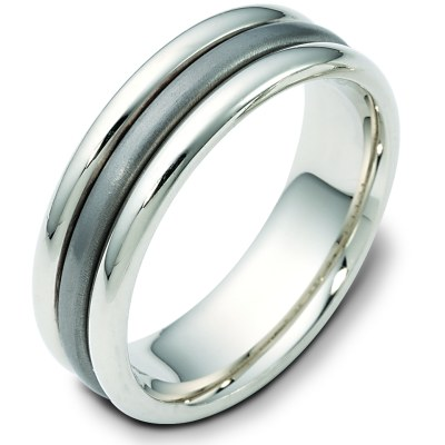 Titanium-14 K Gold Comfort Fit, 7.0mm Wide Wedding Band
