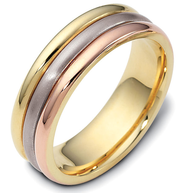 Item # 111321E - 18 kt tri-color hand made comfort fit Wedding Band 6.5 mm wide. The center portion is a brush finish and the outer bands are polished. Different finishes may be selected or specified.