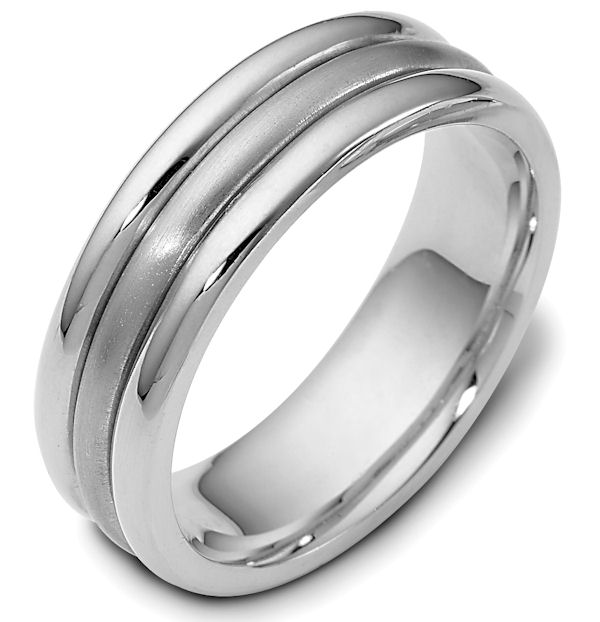 Item # 111321WE - 18 kt white gold hand made comfort fit Wedding Band 6.5 mm wide. The center portion is a brush finish and the outer bands are polished. Different finishes may be selected or specified.