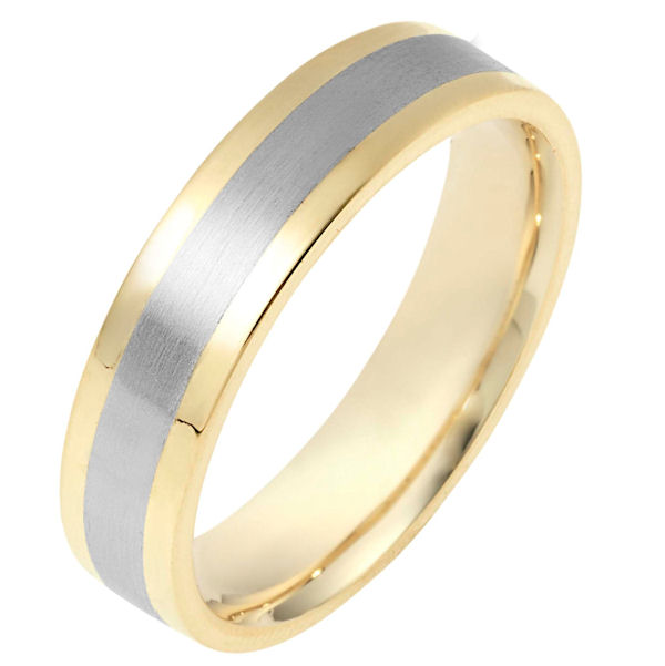 Item # 111331 - 14 kt two-tone hand made comfort fit Wedding Band 5.0 mm wide. The center is matte finish and the edges are polished. Different finishes may be selected or specified.