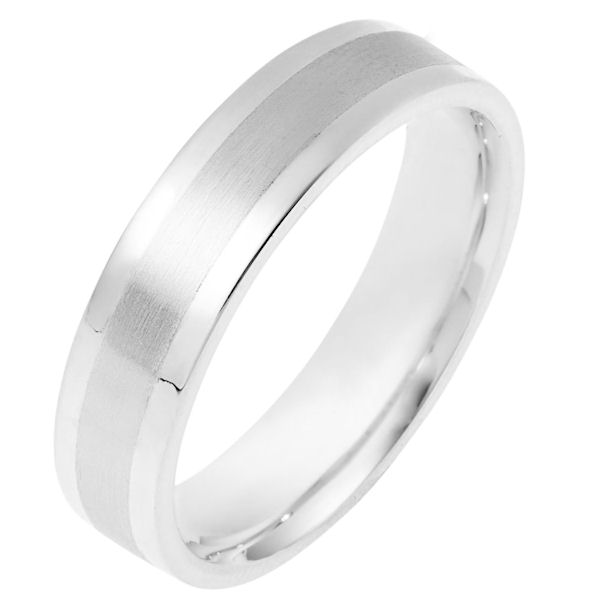 Item # 111331WE - 18 kt white gold, hand made comfort fit Wedding Band 5.0 mm wide. The center is matte finish and the edges are polished. Different finishes may be selected or specified.