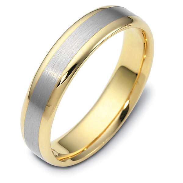 Item # 111341E - 18 kt two-tone hand made comfort fit Wedding Band 5.0 mm wide. The center is a brush finish and the edges are polished. Different finishes may be selected or specified.