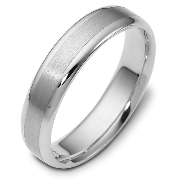 Item # 111341W - 14 kt white gold, hand made comfort fit Wedding Band 5.0 mm wide. The center is a brush finish and the edges are polished. Different finishes may be selected or specified.