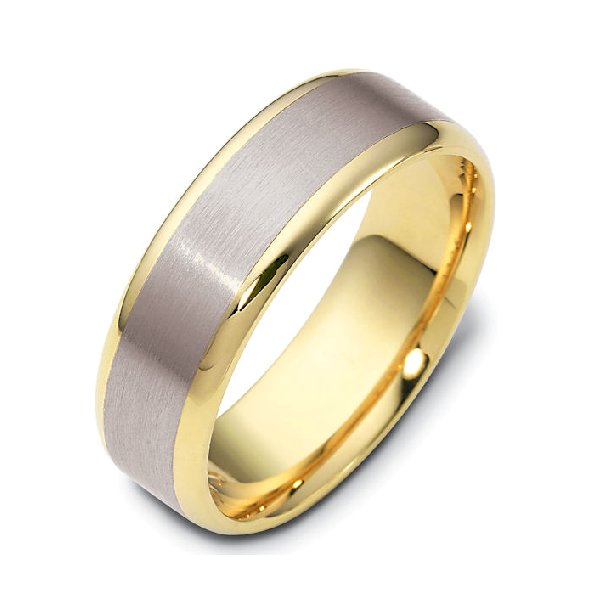 Item # 111351E - 18 kt two-tone hand made comfort fit Wedding Band 6.0 mm wide. The center is a brush finish and the edges are polished. Different finishes may be selected or specified.