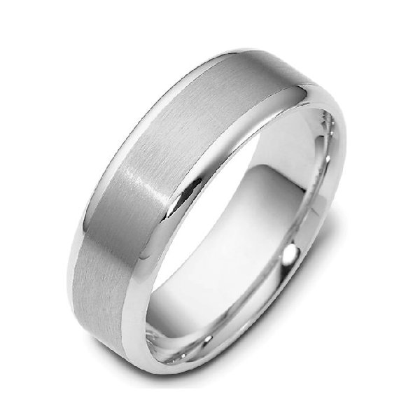 Item # 111351WE - 18 kt white gold, hand made comfort fit Wedding Band 6.0 mm wide. The center is a brush finish and the edges are polished. Different finishes may be selected or specified.