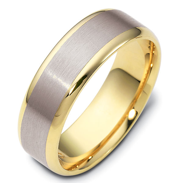 Item # 111361 - 14 kt two-tone hand made comfort fit Wedding Band 6.5 mm wide. The center is a brush finish and the edges are polished. Different finishes may be selected or specified.