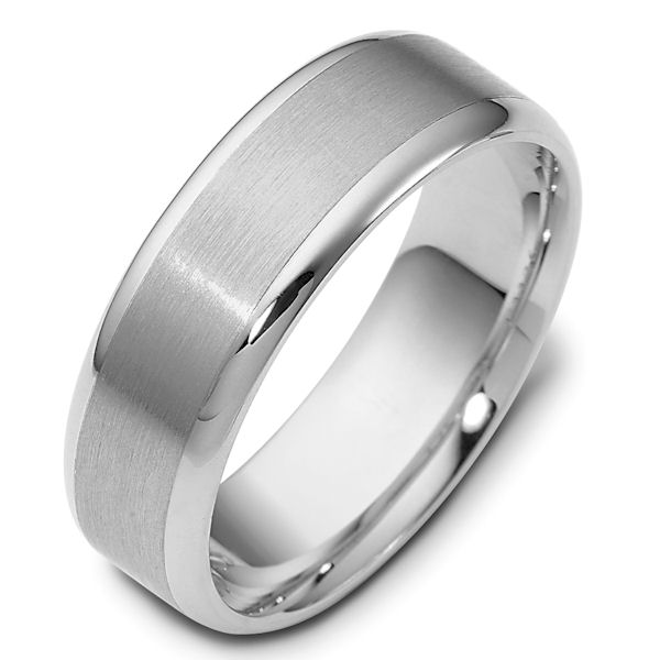 Item # 111361W - 14 kt white gold, hand made comfort fit Wedding Band 6.5 mm wide. The center is a brush finish and the edges are polished. Different finishes may be selected or specified.