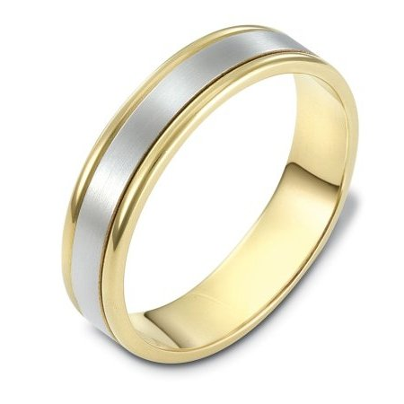 Item # 111371 - 14 kt two-tone hand made comfort fit Wedding Band 5.0 mm wide. The center is a matte finish and the outer edges are polished. Different finishes may be selected or specified.
