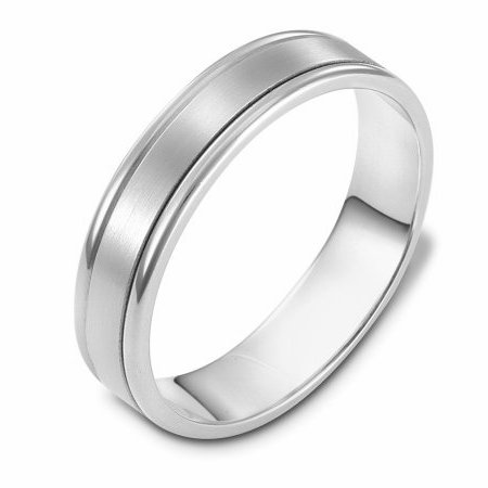 Item # 111371WE - 18 kt white gold, hand made comfort fit Wedding Band 5.0 mm wide. The center is a matte finish and the outer edges are polished. Different finishes may be selected or specified.