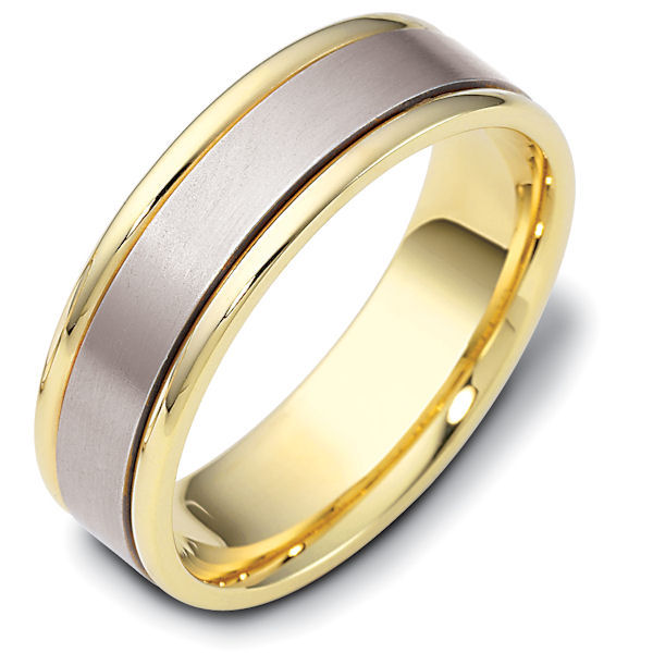Item # 111381 - 14 kt two-tone hand made comfort fit Wedding Band 6.5 mm wide.  The center is a matte finish and the outer edges are polished. Different finishes may be selected or specified.