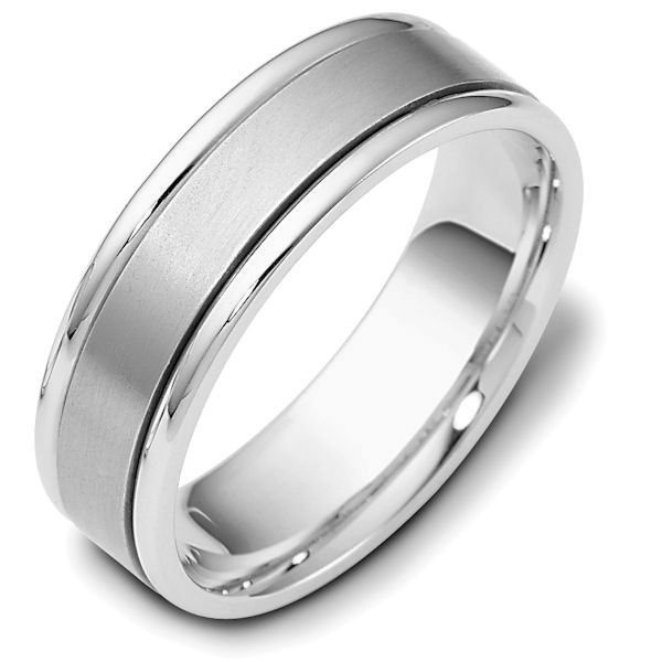 Item # 111381W - 14 kt white gold, hand made comfort fit Wedding Band 6.5 mm wide. The center is a matte finish and the outer edges are polished. Different finishes may be selected or specified.