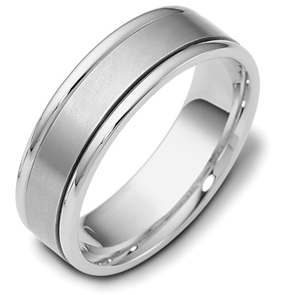 Item # 111381WE - 18kt white gold, hand made comfort fit Wedding Band 6.5 mm wide. The center is a matte finish and the outer edges are polished. Different finishes may be selected or specified.
