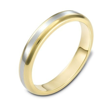 Item # 111391 - 14kt two-tone hand made comfort fit Wedding Band 4.0 mm wide. The center is a matte finish and the outer edges, polished. Different finishes may be selected or specified.