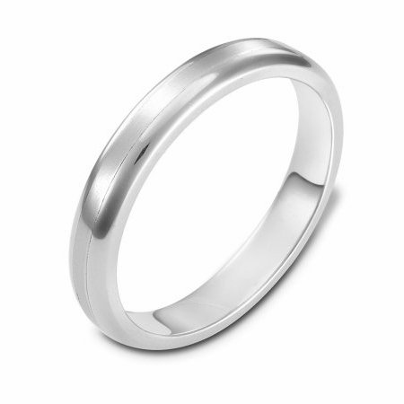 Item # 111391WE - 18 kt white gold, hand made comfort fit Wedding Band 4.0 mm wide. The center is a matte finish and the outer edges, polished. Different finishes may be selected or specified.