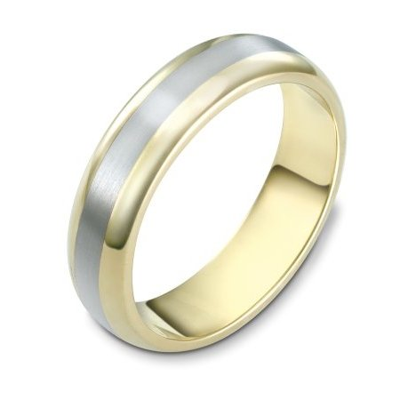 Item # 111401E - 18 kt two-tone hand made comfort fit Wedding Band 5.5 mm wide. The center is a matte finish and the outer edges, polished. Different finishes may be selected or specified.