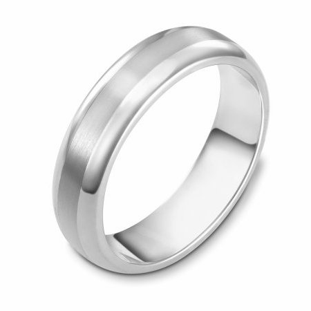 Item # 111401WE - 18 kt white gold, hand made comfort fit Wedding Band 5.5 mm wide. The center is a matte finish and the outer edges, polished. Different finishes may be selected or specified.