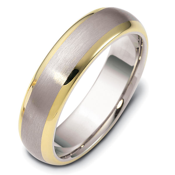 Item # 111411E - 18 kt two-tone hand made comfort fit Wedding Band 6.0 mm wide. The center is a matte finish and the outer edges, polished. Different finishes may be selected or specified.