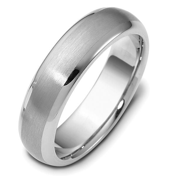 Item # 111411WE - 18 kt white gold, hand made comfort fit Wedding Band 6.0 mm wide. The center is a matte finish and the outer edges, polished. Different finishes may be selected or specified.