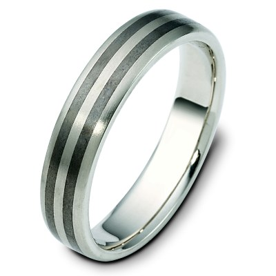 Item # 111421TG - Titanium-14 K Gold Comfort Fit Wedding Band View-1